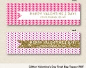 Glitter Valentine's Day Treat Bag Topper - Printable File - Ziplock Bag Tag