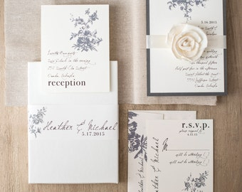 """Vintage Modern Boxed Wedding Invitations, Ivory, Linen, Gray Florals """"All White Box Invite"""" Deposit - NEW LOWER PRICE!"""