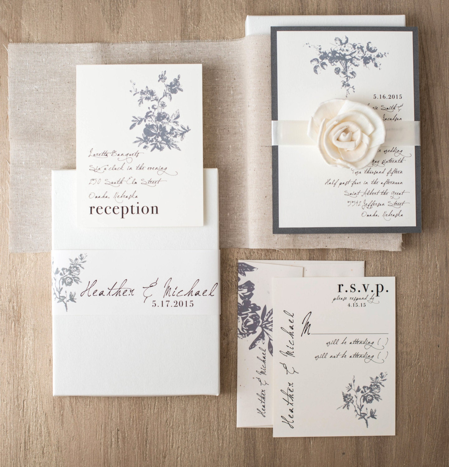 Vintage Modern Boxed Wedding Invitations Ivory Linen Gray