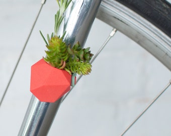 Geometric Bike Planter, in Coral: Wearable Planter