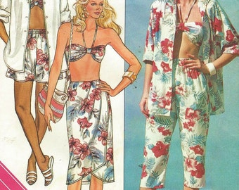 80s Womens Bra Top, Sarong Skirt, Shorts & Shirt Butterick Sewing Pattern 3912 Size 12 14 16 Bust 34 36 38 UnCut Resort Wear