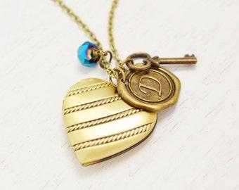 heart locket,bridesmaid necklace,picture locket,was seal initial,key and heart locket necklace,monogram,key jewelry,something blue,key charm