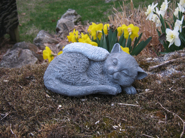 Cat angel statue pet memorial cat memorial by for Sujet decoratif pour jardin