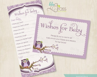 Wishes for Baby, Baby Shower Card byBluGrass Designs - Vintage Owl