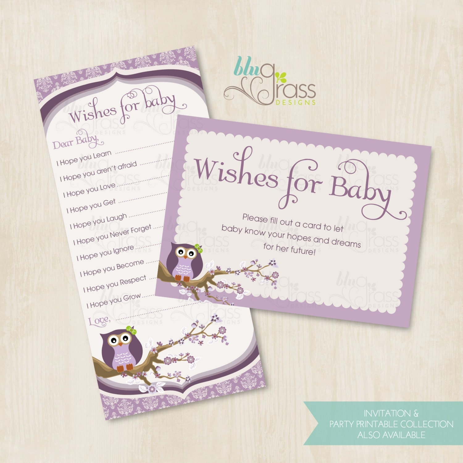 wishes for baby baby shower card byblugrass designs vintage