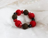 FINAL SALE Hand felted bracelet in red, brown & black with glass beads. Classic colors, poppies. Felt balls, fiber art