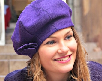 Purple fabric beret. French womans beret. Slouchy beret. Foldable fabric hat. Womans hat. Fashion hat.