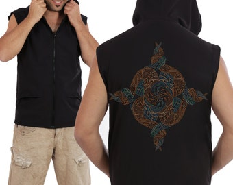 Mens Hood Vest Mandala Screenprint  Hooded Vest - Black - Steampunk - Psychedelic - Fractal - Burning Man Men - Sacred Clothing