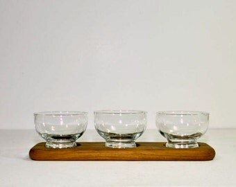 Vintage Danish Modern Style Teak Tray Glass Condiment Server Selandia Designs Teakwood from Thailand
