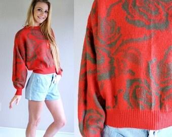 vtg 80s PERSIMMON RED floral print Batwing SWEATER Sm/Med/Large olive green retro boho jumper