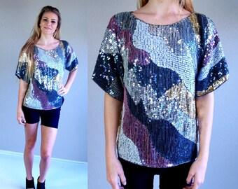 vtg 80s pink, gold, GRAY art nouveau SEQUIN TOP os blouse nye shirt silk party statement trophy