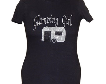 Women's Glamping Girl Glitter Embroidered Gildan Ultra Cotton t-Shirt 100% cotton camping tee
