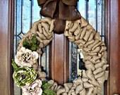 Large Natural Burlap Lavish Wreath
