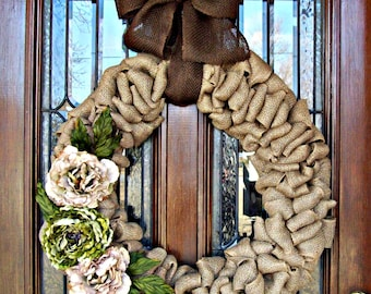 Large Natural Burlap Lavish Wreath