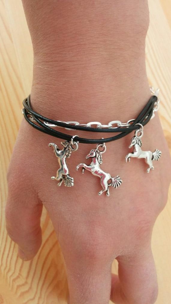 Horse bracelet, horse cuff, horse jewelry, leather cuff, leather bracelet, leather horse cuff, black cuff, black horse