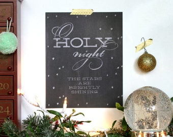 o holy night, Christmas print : 8x10