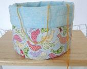 Knitting Bowl/Yarn Bowl /Table Decor:  Birds - Reversible Storage Bin