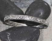 Sterling Silver Bangle, Unisex, Round or Oval Bangle, Art Deco Bangle with Floral Scroll, Blackened Patina, Shiny or Oxidized, Ready