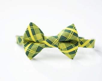 Little Boy Bow Tie - Lime Green Plaid - Boys Bowtie