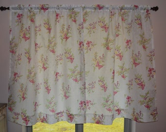 Vintage Butterfly Curtains . Kitchen Curtains .  Pink Butterflies .  Pretty Lightweight  Semi-Sheer - 2 panels.  Offered by SeamsOriginal