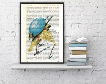Dictionary page book art print Pilgrim Bird carrying an Egg  Print on Vintage Encyclopedic Dictionary Book art ANI058