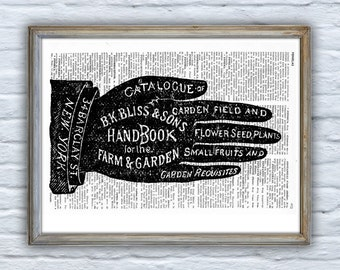 Summer Sale Dictionary Page Upcycled Book Art Upcycled Art Print Print Vintage Art Print Garden & Farm Handbook - Vintage BPSK036