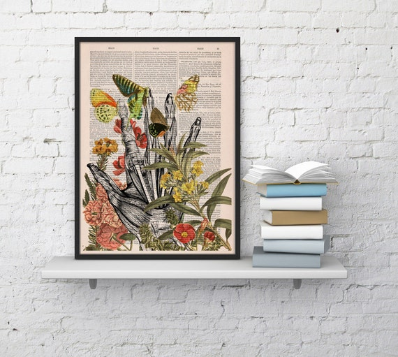 Spring Sale Take my hand human Anatomy Print on dictionary. Anatomy art, love human anatomy, science & anatomy  wall decor BPSK063