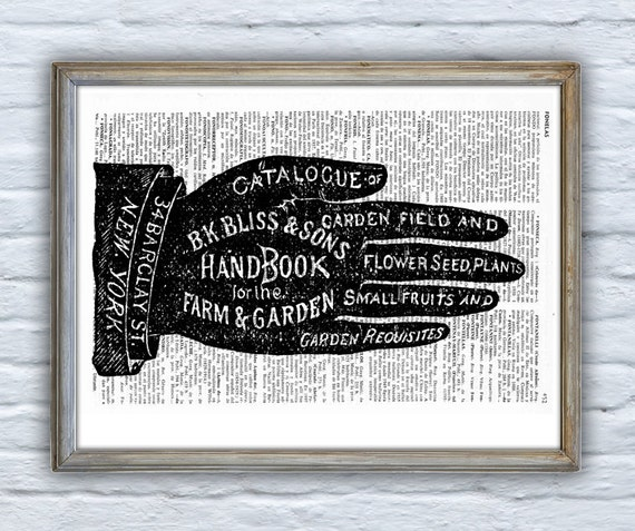 Upcycled Dictionary Page Upcycled Book Art Upcycled Art Print Upcycled Book Print Vintage Art Print Garden & Farm Handbook - Vintage BPSK036