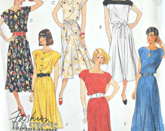 McCall's 2977 Dress and Tie Belt Pattern, Size Small (10-12), Vintage 1987