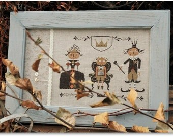 Halloween Royal Family cross stitch pattern by Madame Chantilly at thecottageneedle.com October Autumn jack-o-lanterns pumpkins embroidery