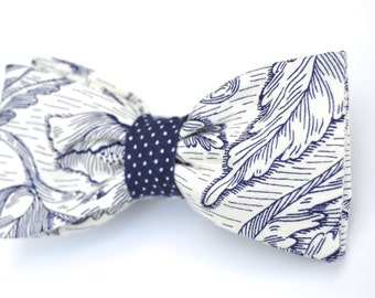 Navy & White Bow Tie - Pre-Tied, Adjustable, Cotton
