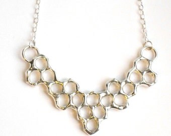 Honeycomb Mini Statement Necklace - Sterling Silver