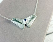 Silver Butterfly Necklace wth Dark Blue Cubic Zirconia- PMC3 99.9% Silver, Handmade silver necklace