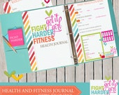 Fitness Planner Journal INSTANT DOWNLOAD. Track calories, exercise, weight loss and more. fight harder fitness