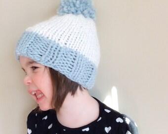 Classic Pom Pom Hat, Mystical Blue and Celebration White, Kids