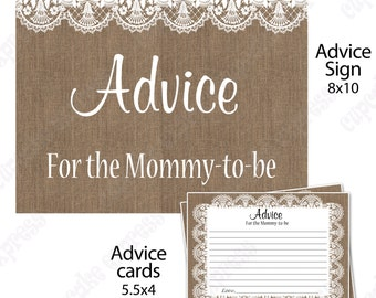 Burlap and Lace Baby Shower Mommy to be Advice sign and cards  PRINTABLE tan white  INSTANT Download