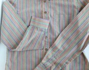 Women's Huk-a-poo Oxford Blouse Button Down Shirt Pink, Purple, Teal Stripes on Gray 1980s Size 5 Small