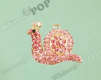 1 - Girly Pink Snail Insect Bug Slug Rhinestone Charm, Snail Charm, Slug Charm,  46mm x 35mm (R7-015)