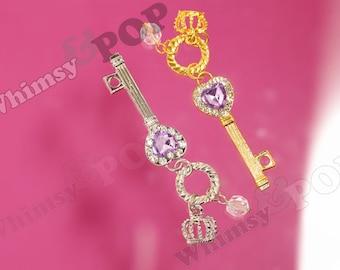 1 - Crystal Rhinestone Crown Heart Skeleton Key Pendant Charms, Heart Key Charms, 55mm x 15mm (4-3G)