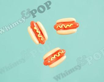 5 - Kawaii Miniature Foodie Mustard Hot Dog Cabochon, Hot Dog Cabochon, 16mm x 10mm x 4mm (R9-092)