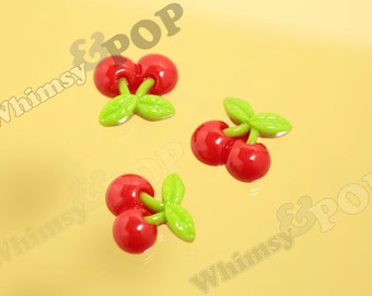 Red Maraschino Cherry Resin Flatback Cabochons, Cherry Cabochon, 21mm x 20mm (R8-093)