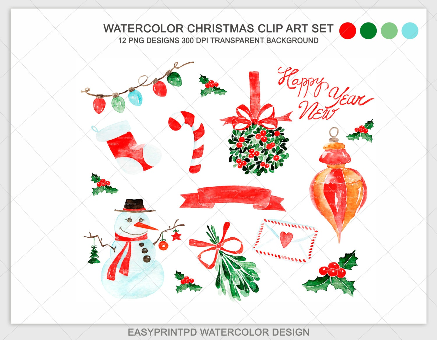 christmas watercolor clipart xmas noel clip art hand painted