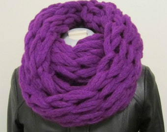 Purple Chunky Arm Knit Scarf Snood Cowl