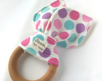Natural Wooden Teether, in Girly Pink, Purple and Blue Polka Dots bunny ear teether