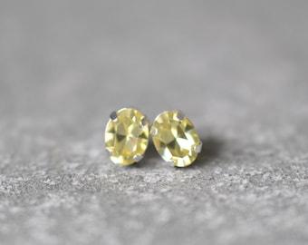 Lemon Light Yellow Earrings Swarovski Crystal 8mm Oval Petite Studs Super Sparklers Small RARE Vintage Pastel Wedding Earrings Mashugana