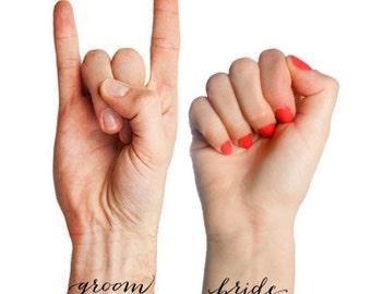 Bridal Tattoo - Wedding Temporary Tattoo for Bride & Groom, Bride + Bride, Groom + Groom