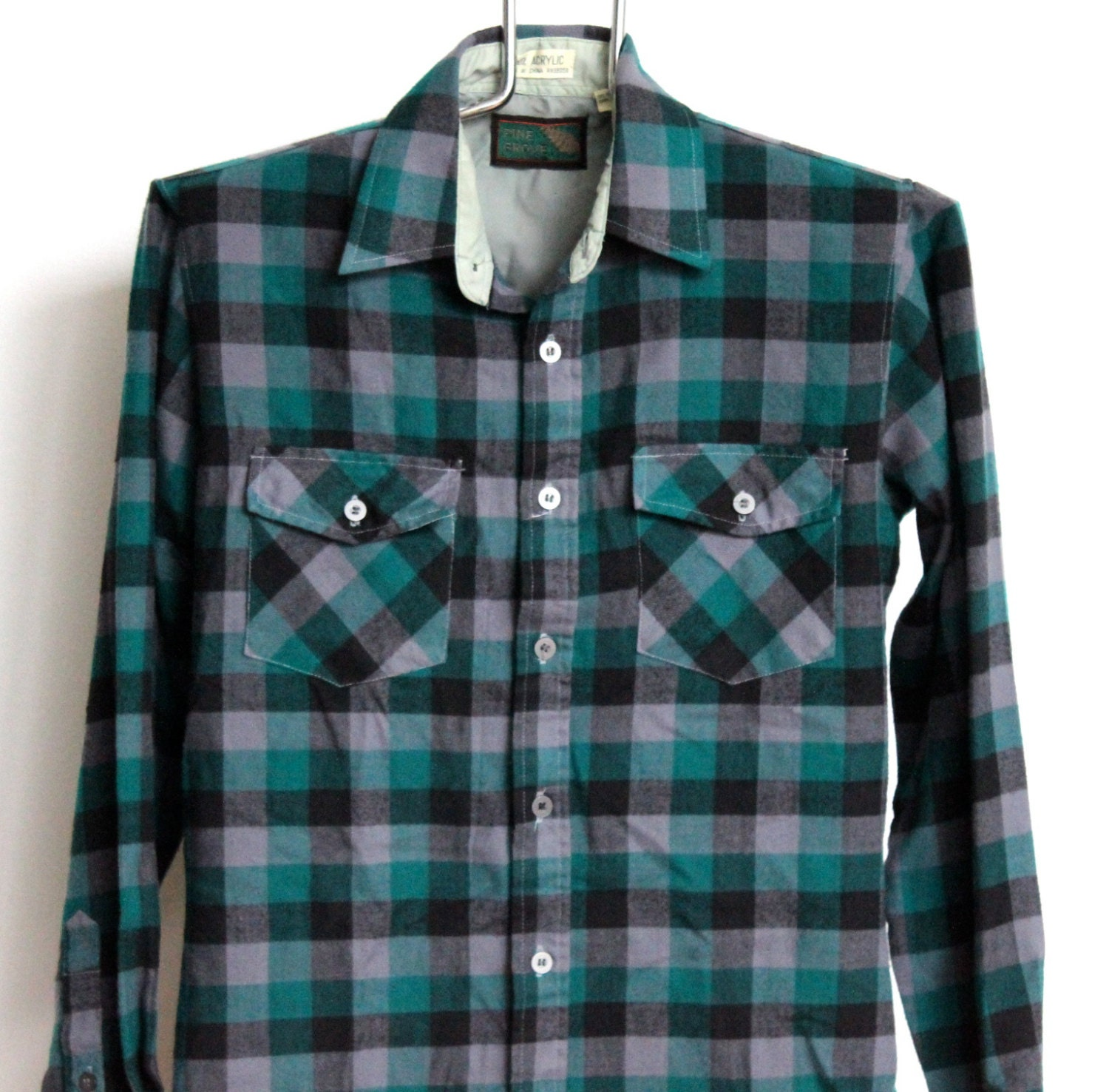 Buffalo Plaid Acrylic Flannel Shirt Mens By Beachwolfvintage