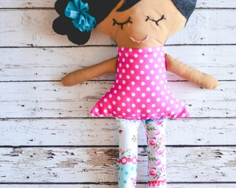 As Seen on The Mindy Project Brown Plush Girl Doll with Black Hair