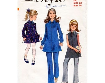 70s Girl's Mod A-line Zip Front Dress or Top Pattern & Trousers Style 2862 Teen Tween Petites Vintage Sewing Pattern Size 12 Bust 30