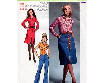 1970s Front Buttoned Skirt, Hip Hugger Pants and Blouse Pattern Simplicity 9163 Vintage Sewing Pattern Waist 29 Bust 38 Plus Size